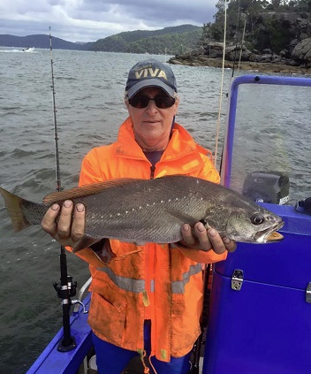 Myer the Captain of Foreshore Fishing Tours with a nice Jew Fish caught in Sydney Harbour